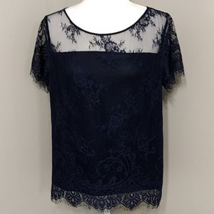 Ann Taylor Navy Blue Lace Short Sleeve Top M